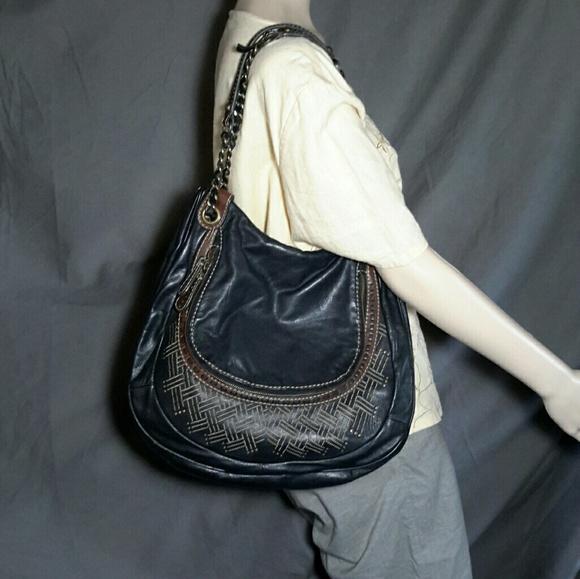 7feaa2d565bd HOBO Intl Flap Shoulder Bag Leather Embroidered